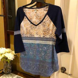 One World Blue 3/4 Knit Sleeve Jersey